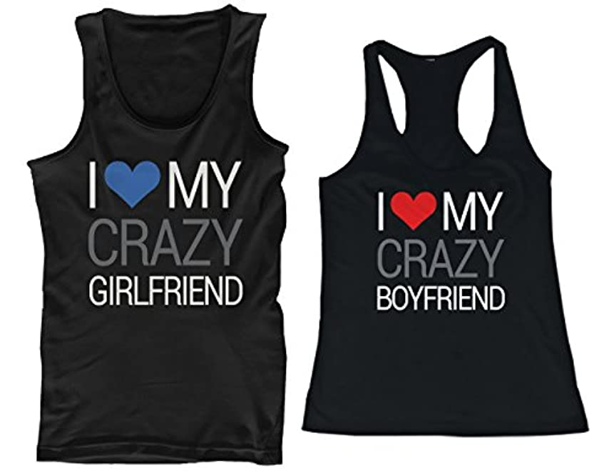 クールスキニー言語365 Printing I Love My Crazy Boyfriend and Girlfriend Matching Tank Tops for Couples
