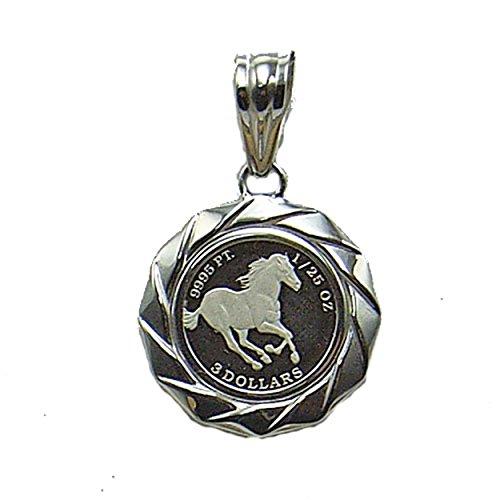 コイン ペンダント ネックレス コインペンダント 安全資産としても注目の白金の永遠の輝き<BR>プラチナツバル馬1/25オンスコインペンダントCP767