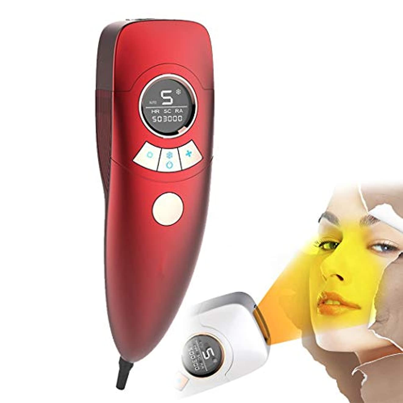 肥沃な焼くフレア電気脱毛装置は痛みがありません女性4で1充電式電気脱毛器の髪、ビキニエリア鼻脇の下腕の脚の痛みのない永久的な体毛リムーバー-red