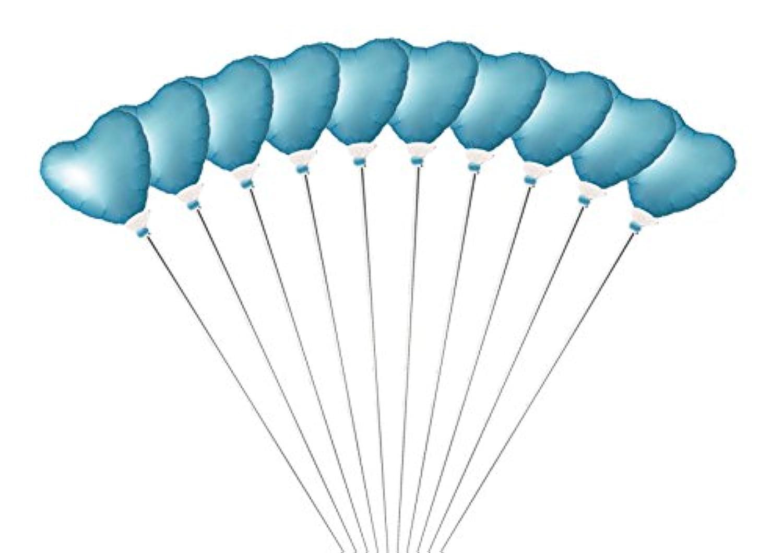 ミニバルーン スティック付き ハート 10本セット パールライトブルー 【バルーン8cm 全長30cm】