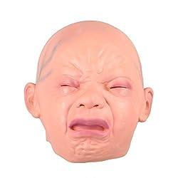 Kicode 気味悪い スマイル 泣く 赤ちゃん 頭 面 ラテックス 恐ろしい ホラー のためのマスク ハロウィンパーティーコスチューム大人のコスプレ