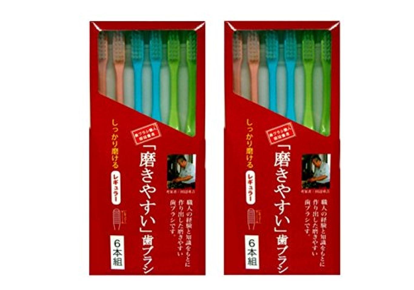 ちらつき差し引く爵磨きやすい歯ブラシ 6本組 レギュラータイプ×2個セット