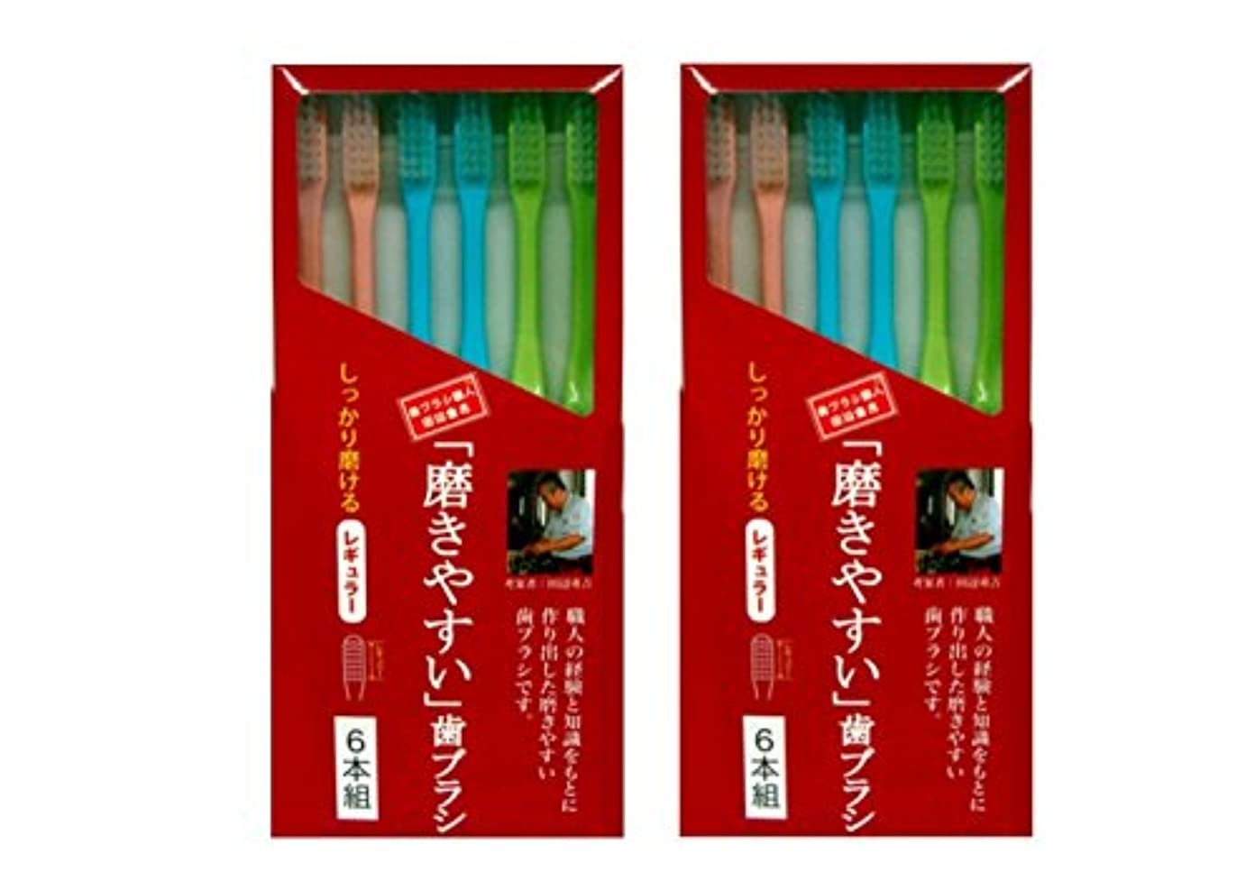 擬人経由で自伝磨きやすい歯ブラシ 6本組 レギュラータイプ×2個セット
