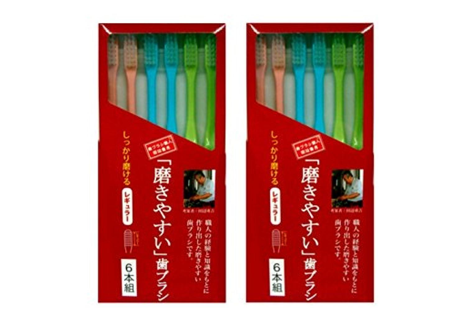 ちょうつがい構成する特に磨きやすい歯ブラシ 6本組 レギュラータイプ×2個セット