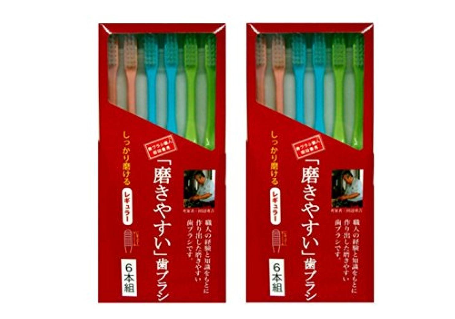 レビュー測定可能大胆不敵磨きやすい歯ブラシ 6本組 レギュラータイプ×2個セット