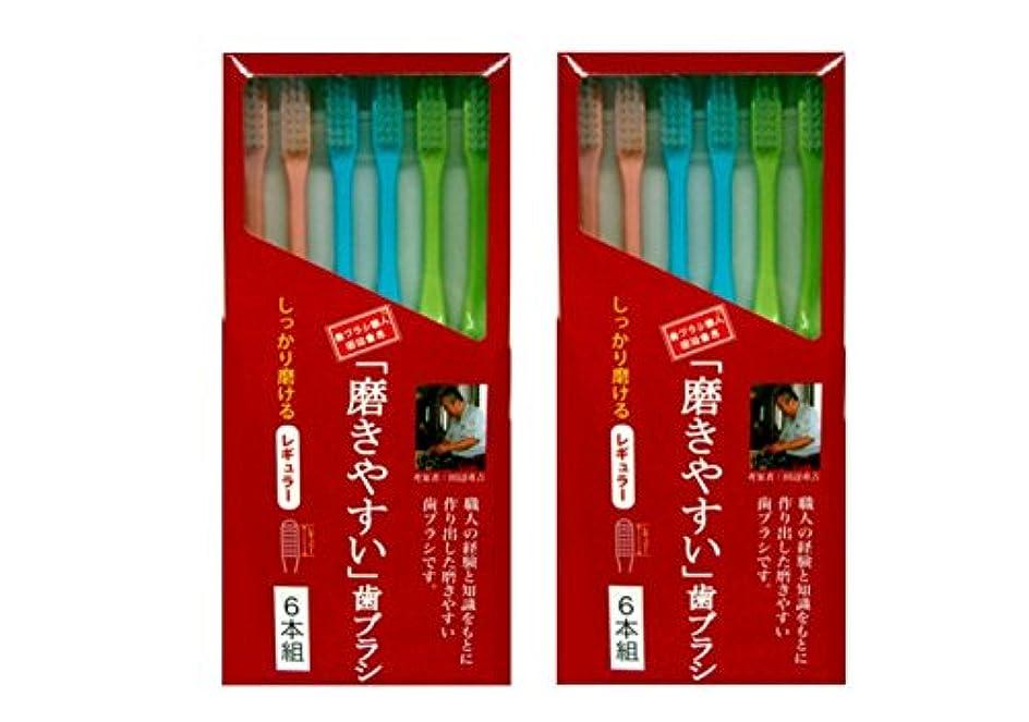 食い違い実現可能コンベンション磨きやすい歯ブラシ 6本組 レギュラータイプ×2個セット