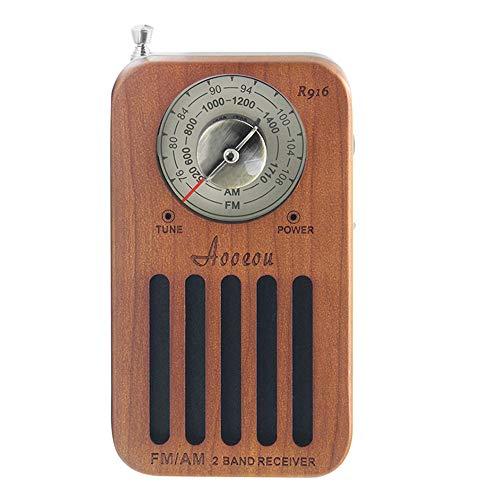 ラジオ ワイドFM AM FM対応 小型 ポータブル ポケットサイズ コンパクト高感度 簡単操作 木製 乾電池式 チェリー