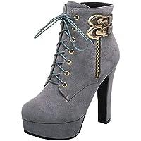 JOJONUNU Women Chunky Heel Ankle Boots
