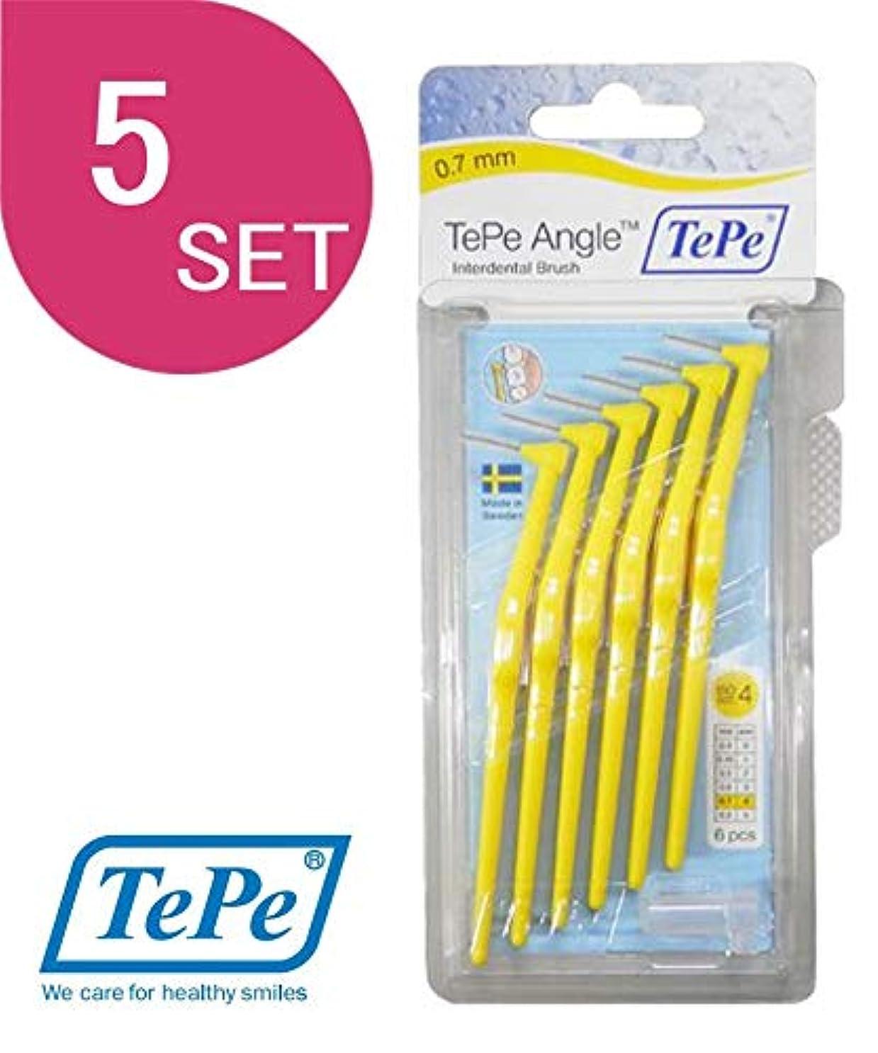 海賊台風維持するテペ(TePe) アングル歯間ブラシ 6本入×5個セット イエロー (0.7mm)