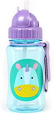 Skip Hop Baby Zoo Little Kid and Toddler Feeding Travel-To-Go Flip Top Straw Bottle, 12oz, Multi Eureka Unicorn
