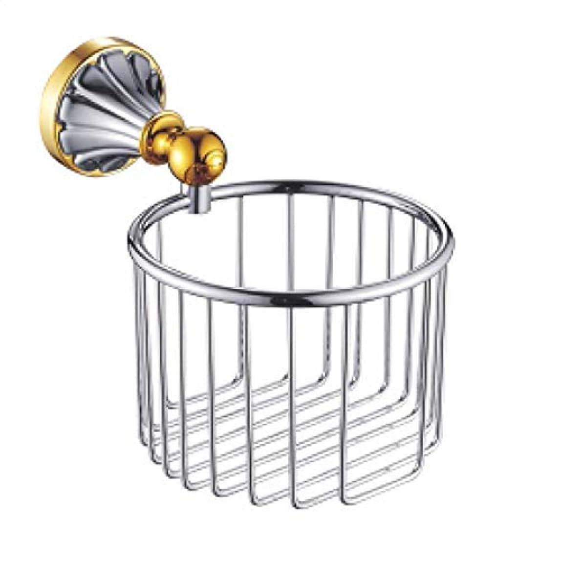 動物園飾る領収書ZZLX 紙タオルホルダー、ヨーロッパスタイルのアンティークゴールド白バスルームトイレットペーパータオル棚 ロングハンドル風呂ブラシ (色 : Gold+chrome)