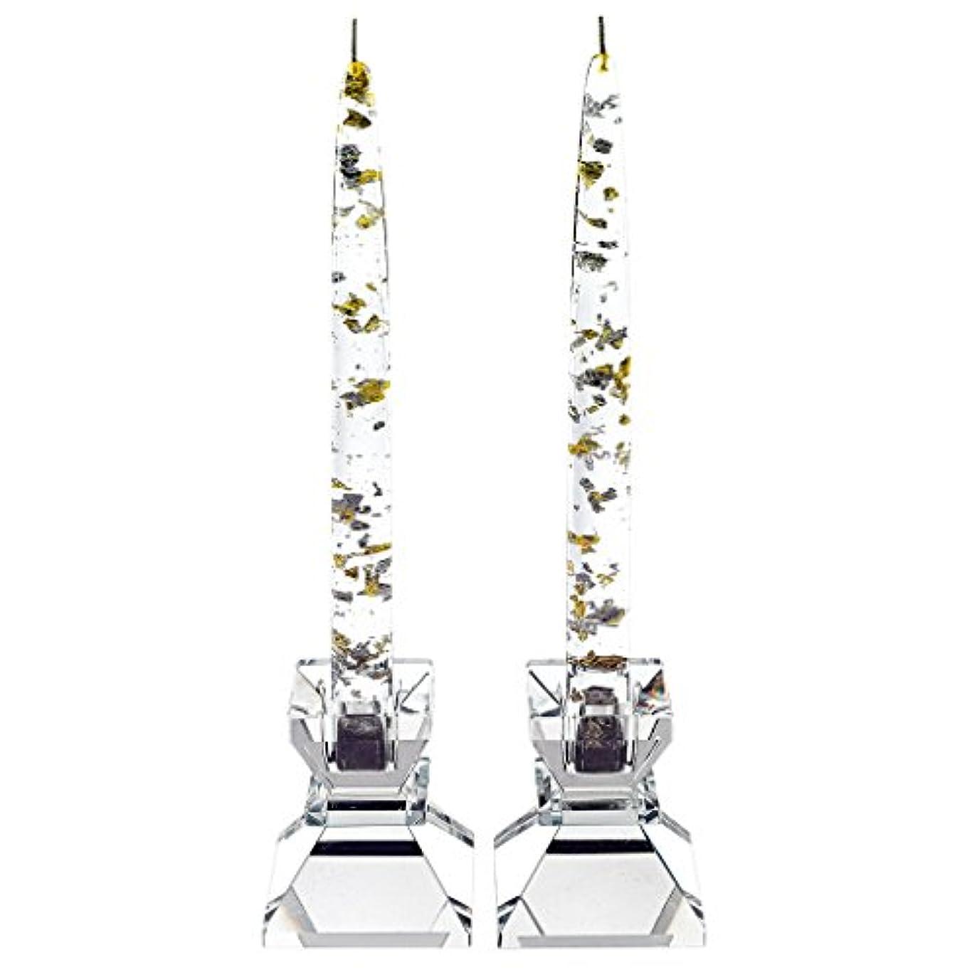シリンダーリーフレット内側Badash Crystal G121 SILVER - GOLD FLECK 8 in. CANDLE