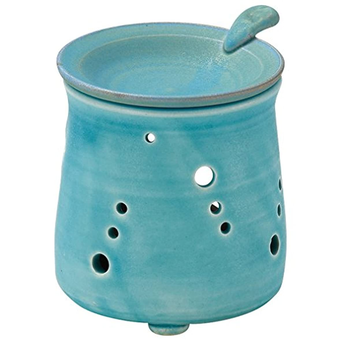 水銀の凍る手伝う山下工芸 常滑焼 山田トルコブルー茶香炉 10×9.5×9.5cm 13045690