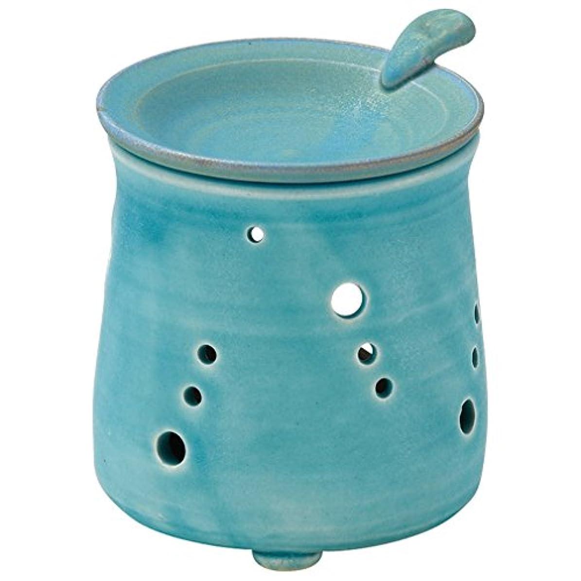 モックアーサーはさみ山下工芸 常滑焼 山田トルコブルー茶香炉 10×9.5×9.5cm 13045690
