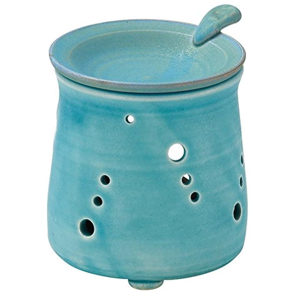 応じる嵐のかどうか山下工芸 常滑焼 山田トルコブルー茶香炉 10×9.5×9.5cm 13045690