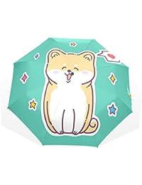 AOMOKI 折り畳み傘 折りたたみ傘 手開き 日傘 三つ折り 梅雨対策 晴雨兼用 UVカット 耐強風 8本骨 男女兼用 コギ かわいい犬