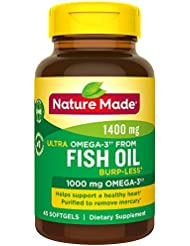 Nature Made Ultra Omega-3 Fish Oil Softgels, 1400 Mg, 45 Count 海外直送品