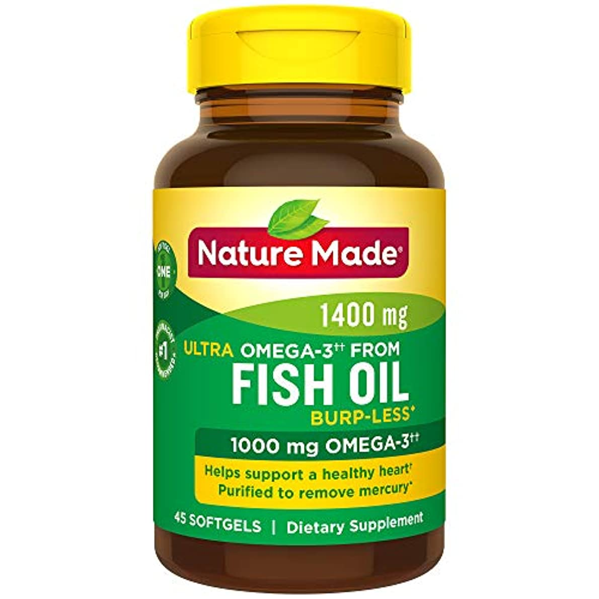 砲兵ショート五Nature Made Ultra Omega-3 Fish Oil Softgels, 1400 Mg, 45 Count 海外直送品