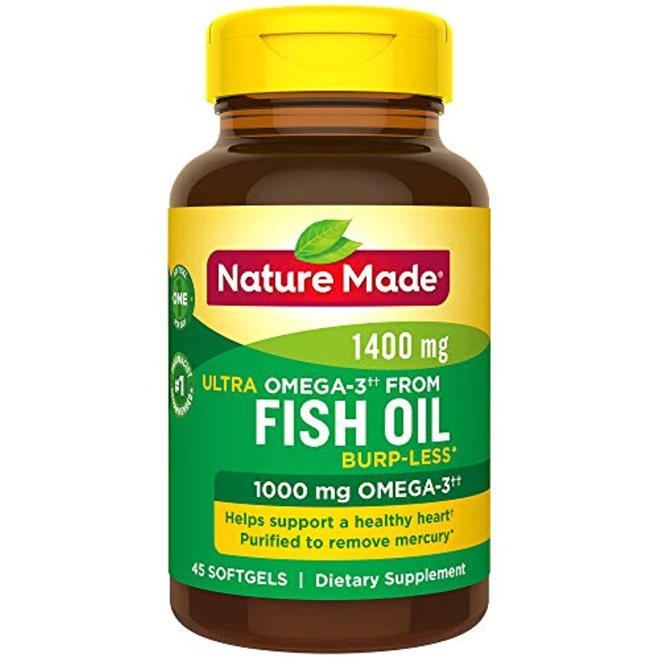 力学投票十一Nature Made Ultra Omega-3 Fish Oil Softgels, 1400 Mg, 45 Count 海外直送品