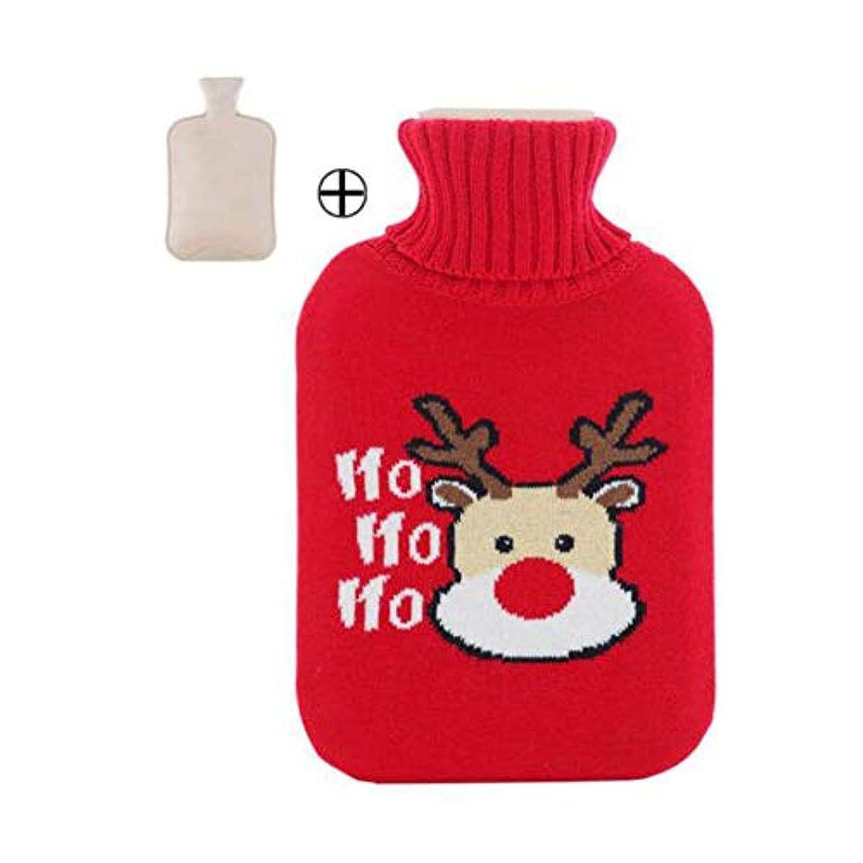 図不純セットするホットウォーターボトル大温かいクリスマススタイルのウォーターボトル2L