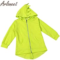 ARLONEET Baby Cotton Coat Girls Zipper Coat Cartoon Dinosaur Style Hooded Outerwear Autumn Jacket Baby Coat Boy Long Outerwear