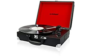 mbeat Retro Briefcase-Style USB Turntable Record Player Vinyl to MP3 Built-In Stereo Speakers Black