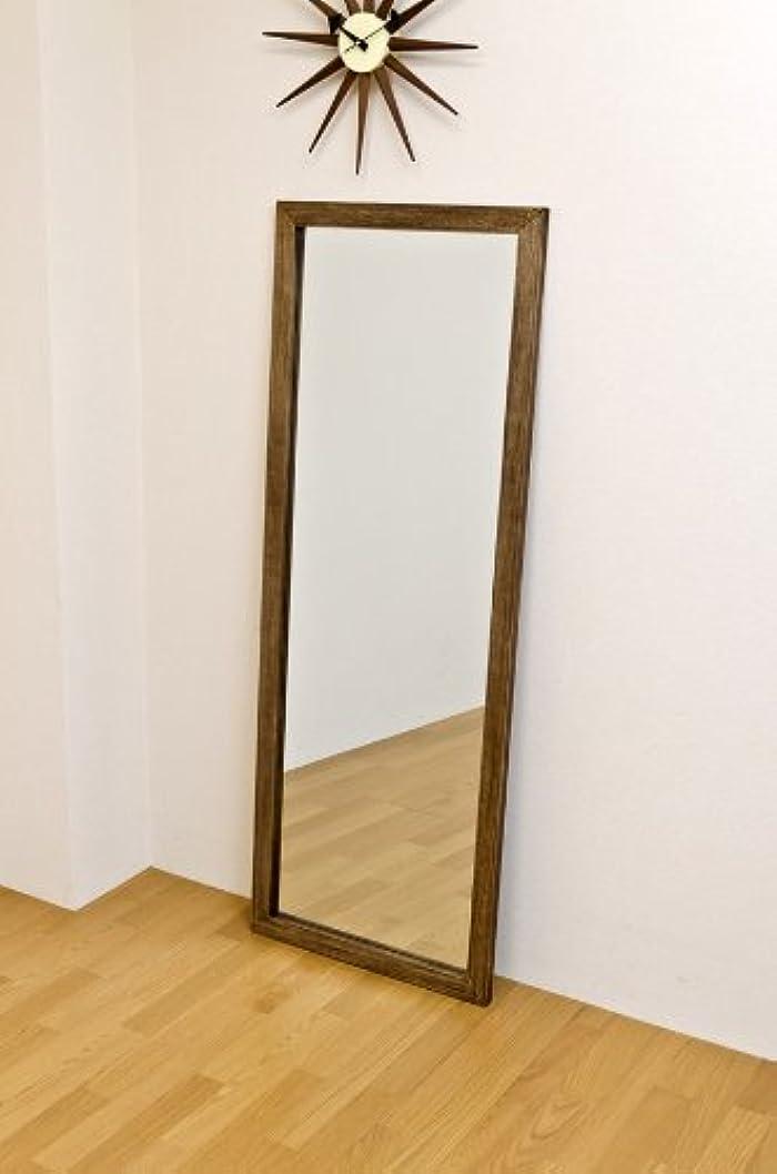 病者朝遵守するジャンボミラー アンティーク調 幅60cm×高さ160cm[ダークブラウン]/転倒防止金具付属 大きい鏡