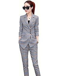 SHUNYI レディース パンツスーツ 九分丈 セットアップ スリム 着痩せ 通勤 無地 フォーマル チェック柄 テーラードジャケット ビジネス 2点セット