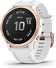 Garmin Fenix 6S Pro, Premium Multisport GPS Smartwatch, Rose Gold With White Band