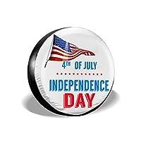 Fengmingtengzhi Happy Independence Day Greetingタイヤカバー タイヤバッグ タイヤトート タイヤ 保管 防水 防風 丈夫 17 Inch