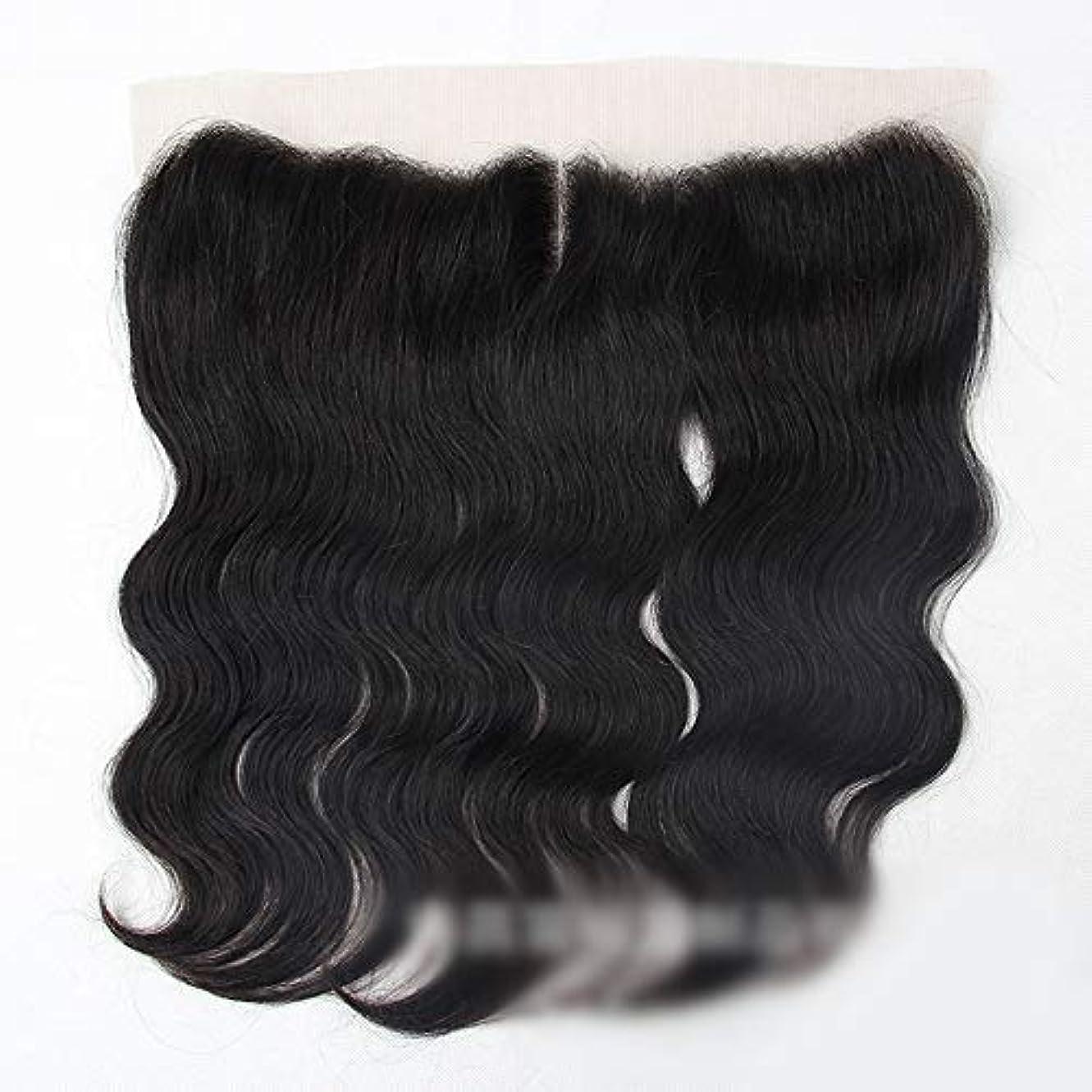 ピアノかどうか補償Mayalina ブラジルの実体波人間の髪の毛13×4レース前頭閉鎖中間部ナチュラルブラックカラーショートウィッグ (色 : 黒, サイズ : 10 inch)