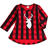 Younger star Baby Girls Princess Dress Red Plaid Long Sleeve Christmas Playwear