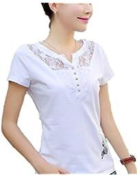 [Flapkash(フラップカッシュ)] 半袖 レース フレンチ袖 ワンポイント 蝶々 シンプル Tシャツ 春 夏 レディース
