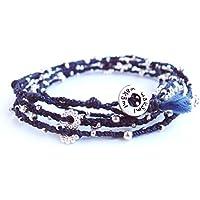 ロンハーマン ブレスレット メンズ レディース ペア wrap bracelet アクセサリー プレゼント (ネイビーSilver)