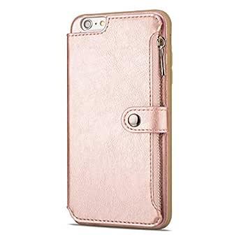 CUSKING iPhone 6 Plus/iPhone 6S Plus ケース, PUレザー カードポケット滑り防止 フリップ カバー 落下防止 衝撃吸収 財布型 Apple iPhone 6 Plus/iPhone 6S Plus 対応, ローズゴールド