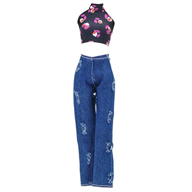 Lovoski キャミソールトップス デニムジーンズ ズボン ドレスアップ 1/6バービードール用 全3色 - 2#