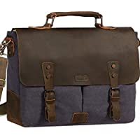 Vaschy Casual Genuine Leather Canvas Messenger Bag 14-15.6 inch Laptop Shoulder Bag Bookbag