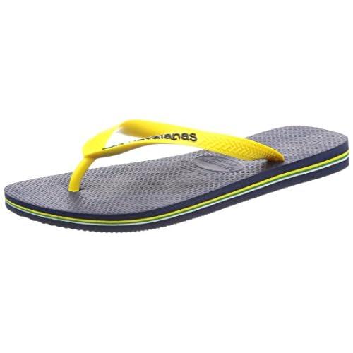 [ハワイアナス] ビーチサンダル BRASIL LOGO 411085035874344 Navy Blue/Citrus Yellow Navy Blue/Citrus Yellow その他 43/44(28-28.5cm)(28cm)