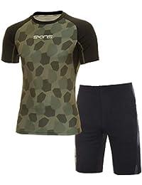 スキンズ(skins) スキンフィットS/Sシャツ&ハーフパンツ上下セット(カーキカモ/ブラック杢) KMMMJA82-KHCM-KMMMJE83-BKMK