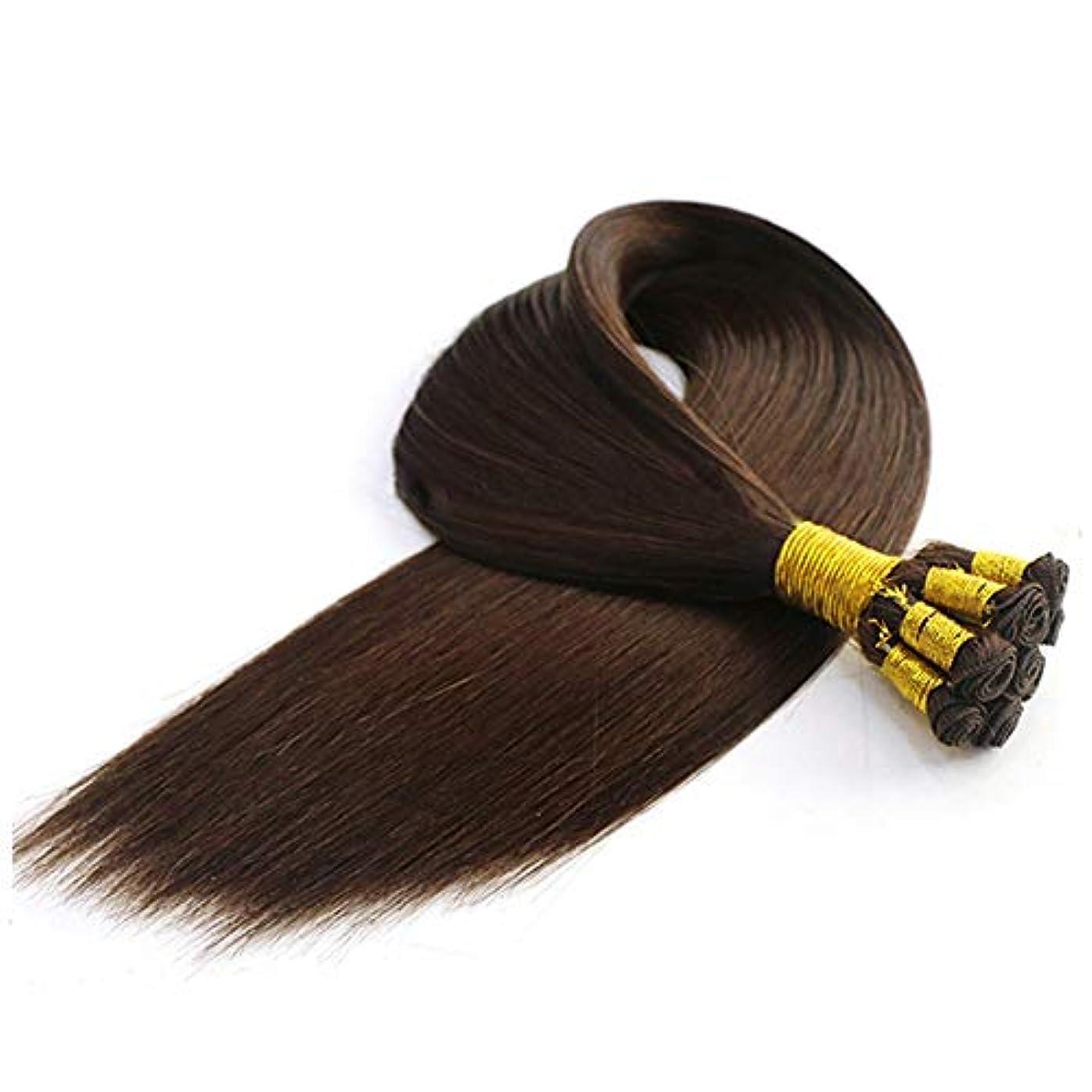 暗記する排他的負WASAIO ヘアエクステンションクリップUnseamed髪型マイクロナノリングSluttishループマイクロビーズ人間の20インチブラウン色 (色 : ブラウン, サイズ : 28 inch)