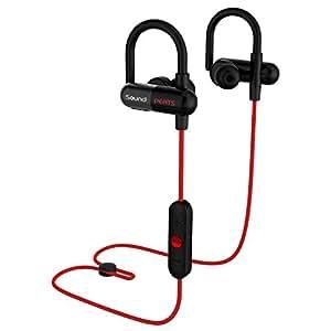 SoundPEATS Bluetooth イヤホン 高音質[メーカー直販/1年保証付]apt-Xコーデック採用 耳にひっかけるタイプ 防水防滴 スポーツ イヤホン ハンズフリー通話 CVC6.0ノイズキャンセリング機能 ブルートゥース イヤホン Bluetooth ヘッドホン ワイヤレス イヤホン Q11 レッド