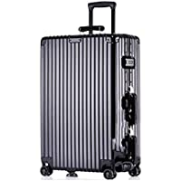 IRVING Scratchproof Aluminum Frame Trolley Case Universal Wheel Suitcase Male and Female Students Password Lock Suitcase (Color : Black, Size : 29inch)