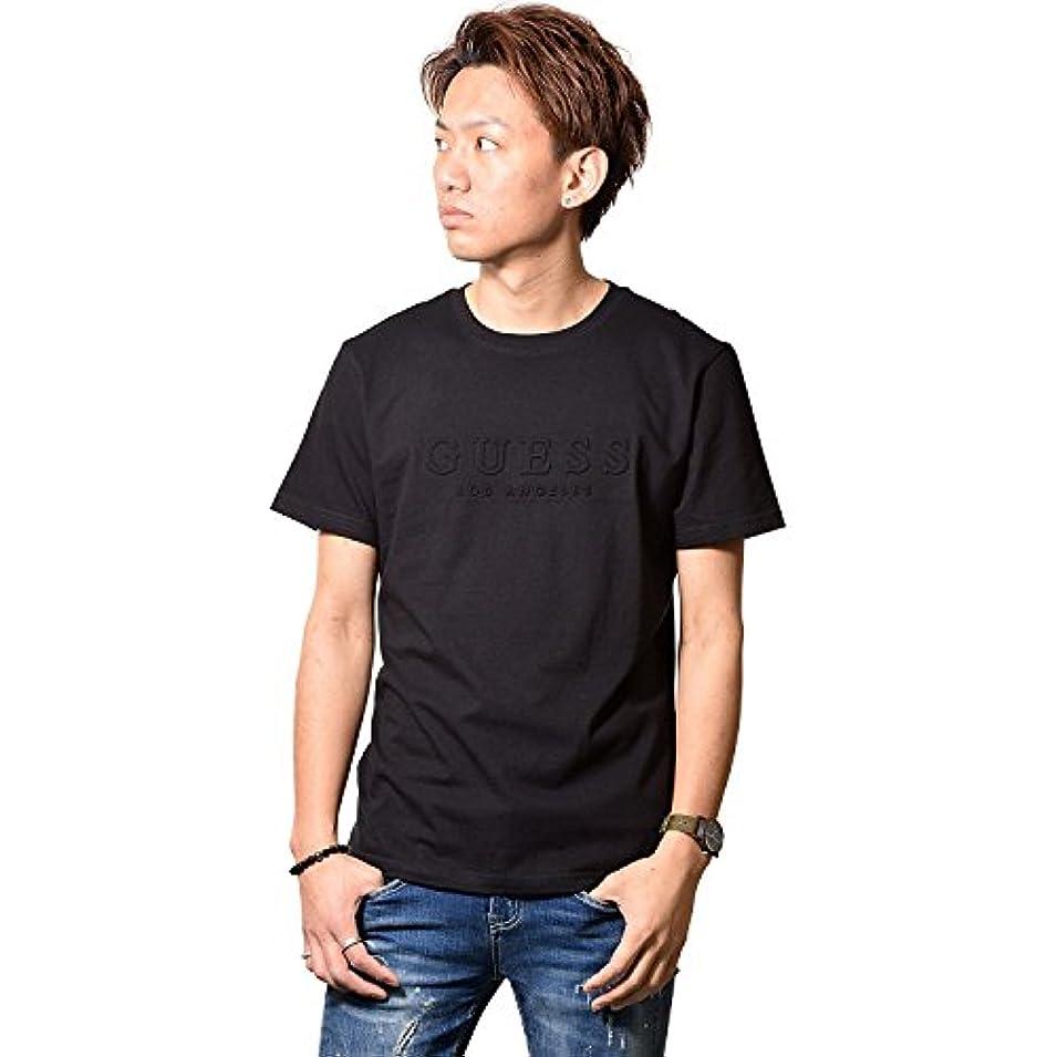 三角形アルミニウムクレジット(ゲス) GUESS メンズ コットン エンボス ロゴ 半袖 Tシャツ MI2K8432