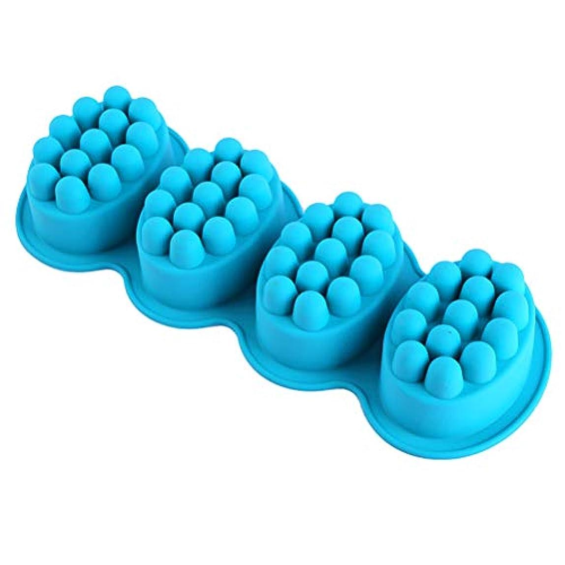 フィードコマース学校教育Healifty DIYのケーキのための4つのキャビティシリコーンの石鹸型が付いているマッサージの石鹸棒型(緑)