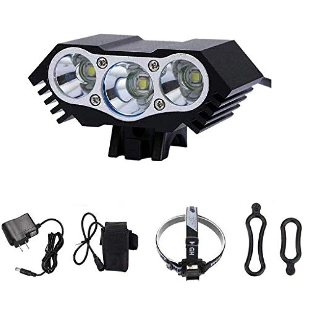 簡単に最適放散するUSB充電自転車ライトセット、LEDヘッドランプ防水7500ルーメンサイクリングフロントランプバイクヘッドライト、マウンテンロード、キッズ、シティバイク用 - USBケーブル付き