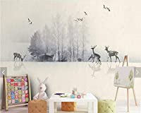 Bzbhart 3Dインク風景ヘラジカの森装飾的な壁紙、リビングルームのソファテレビ壁寝室研究レストラン壁画-450cmx300cm
