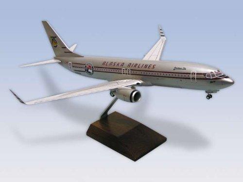 1: 100 スカイマークスSuprem Alaska 航空 ボーイング 737-800 75th Anniversary Colors, with Landing Gear and Wood Dis