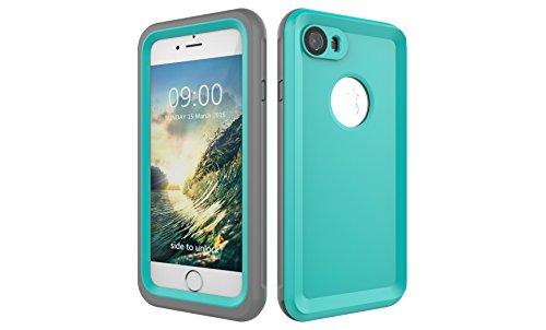Iphone 7 防水電話ケースは、HBER IP68完全密閉水泳ダイビング水中防塵耐雪性の耐震ヘビーデューティケースカバーは、iphone7のために敏感な画面タッチ指紋認証ロック解除をサポートしています (ミントグリーン)