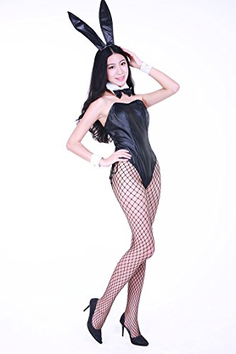 Casino design faux leather Bunny girl costume (SR36-1H) women size L