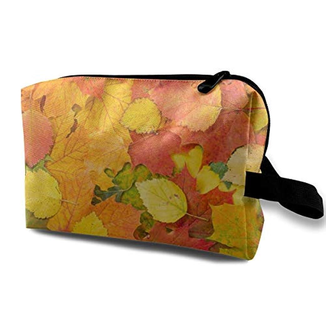 マオリ重さマークAutumn Foliage Nature Leaves 収納ポーチ 化粧ポーチ 大容量 軽量 耐久性 ハンドル付持ち運び便利。入れ 自宅?出張?旅行?アウトドア撮影などに対応。メンズ レディース トラベルグッズ